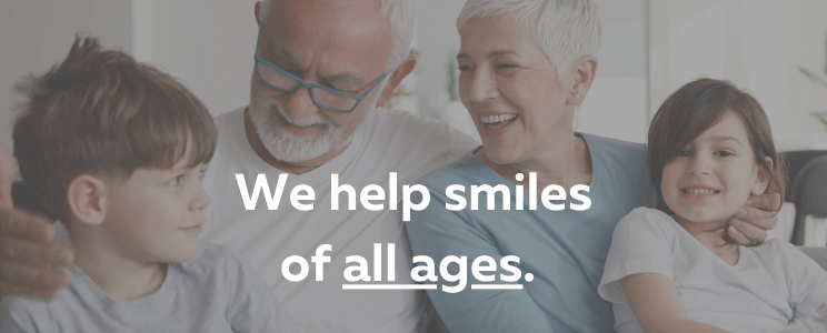 Grandparents and grandkids with overlay of words that say We Help Smiles of All Ages