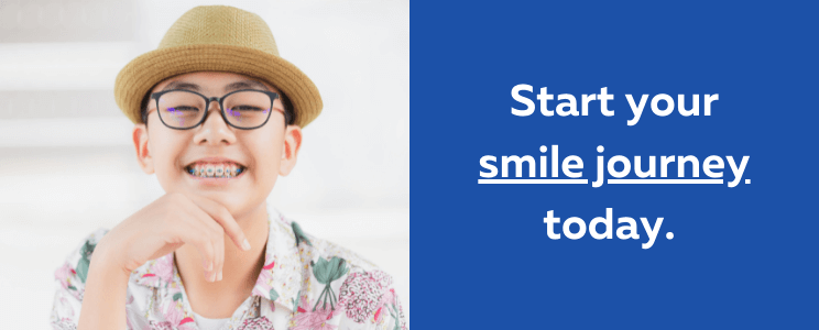 smiling teen boy with words that say Start your smile journey today